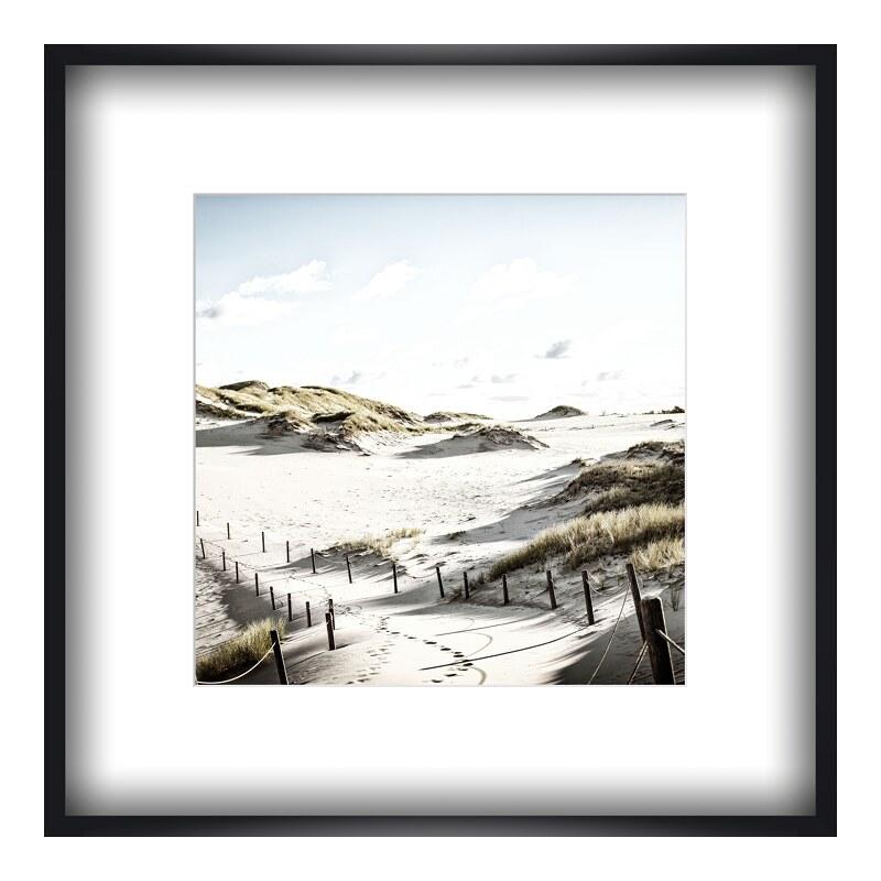 Strand Motiv Foto im Holzbilderrahmen in schwar...