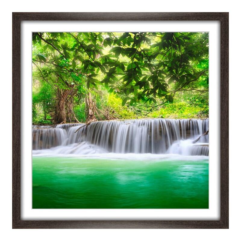 Wasserfall Motiv Panoramadruck im Rahmen aus Ho...