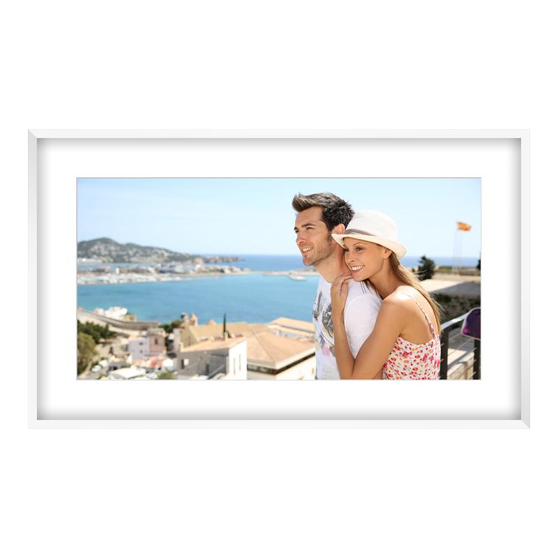 Fotopanorama im Bilderrahmen aus Holz in weiß als Panorama im Format 40 x 10 cm