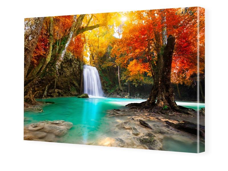 Wasserfall Landschaft Foto auf Leinwand im Form...