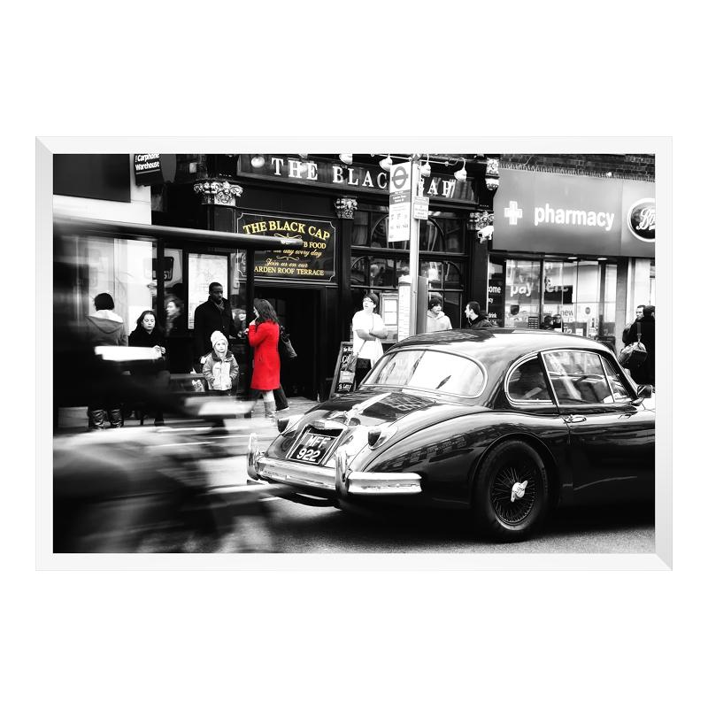 London Motiv Posterdruck im Bilderrahmen Holz in weiß im Format 15 x 10 cm