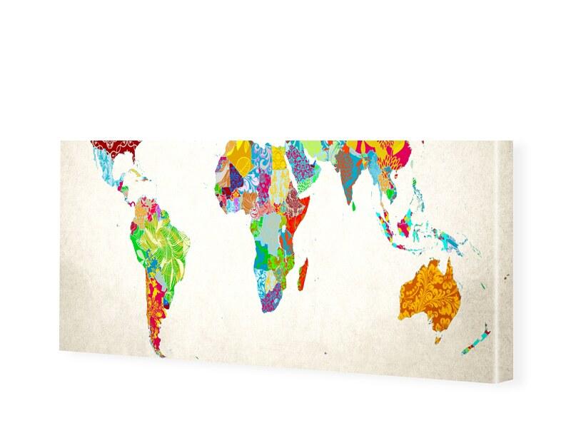 Bild Weltkarte Leinwandbild als Panorama im For...