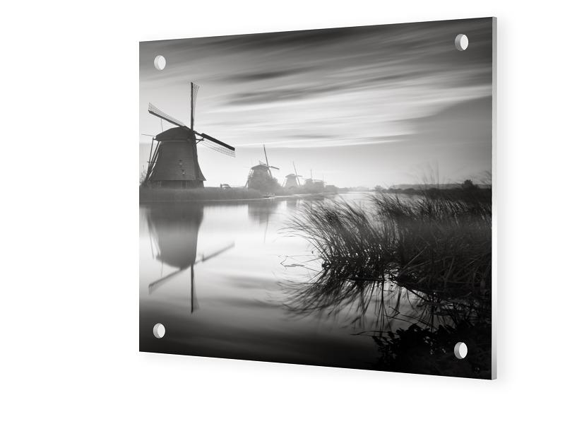 Windmuehlen von Kinderdijk Forex Direktdruck quadratisch im Format 70 x 70 cm | Garten > Dekoration > Windmühlen | myposter