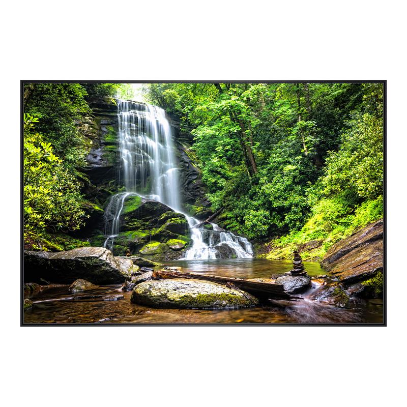 Wasserfall Motiv Foto im Rahmen aus Kunststoff in schwarz im Format 24 x 18 cm