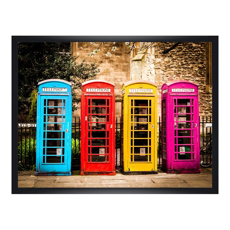Englische Telefonzelle Poster im Holzrahmen in ...