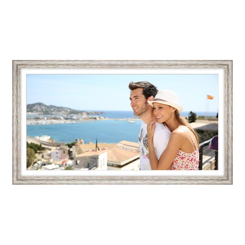 Fotopanorama im Bilderrahmen aus Holz Vintage in weiß als Panorama im Format 80 x 20 cm