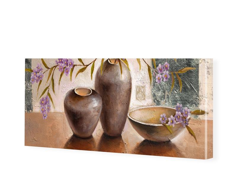 Blumengemaelde Leinwand Bild als Panorama im Fo...