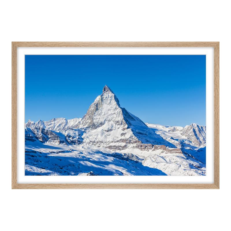 Matterhorn Bild Poster im Holzrahmen Eiche gema...