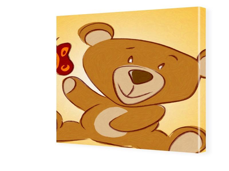 Kinderzimmerbild Teddy Fotos auf Leinwand quadr...