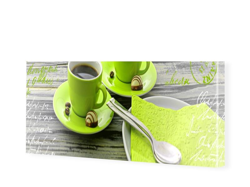 Kaffeemotiv grün Leinwand Bild als Panorama im ...