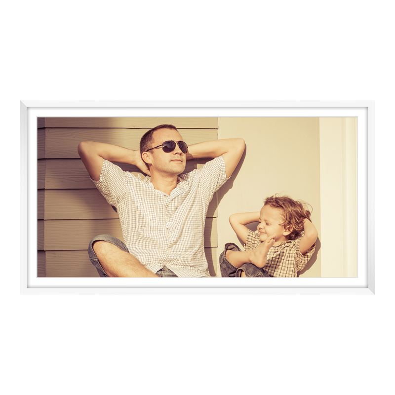 Fotopanorama im Bilderrahmen aus Holz in weiß als Panorama im Format 100 x 25 cm
