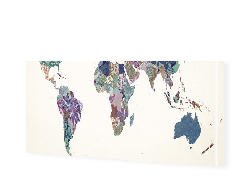 Bild Weltkarte Leinwand Bild als Panorama im Fo...