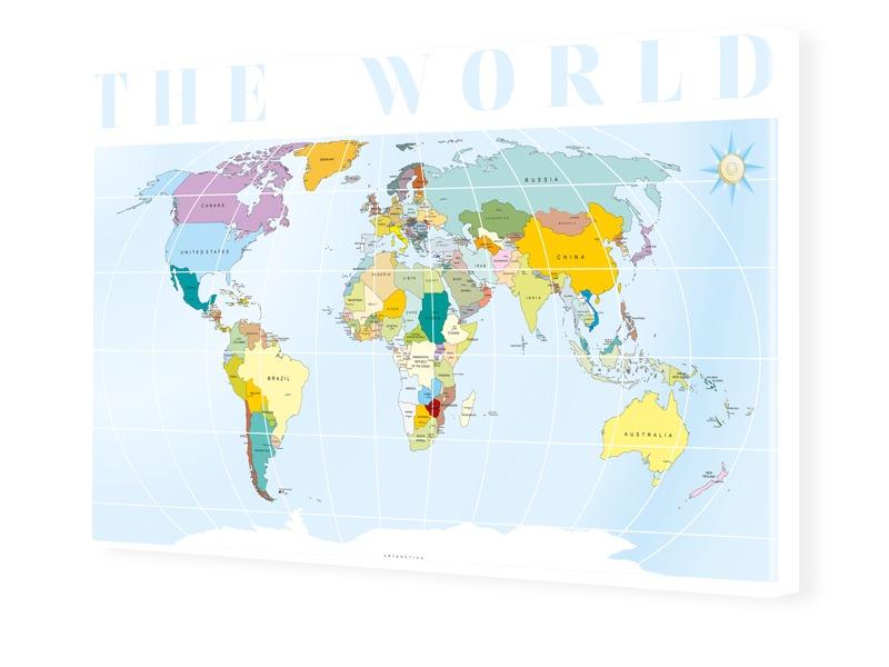 Weltkarte Fotoleinwand im Format 90 x 60 cm