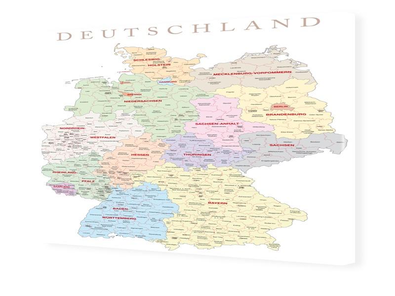 Deutschlandkarte Foto auf Leinwand im Format 80...