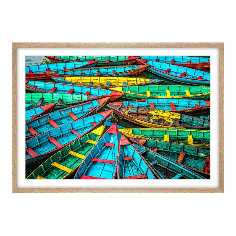 Boote Motiv Posterdruck im Bilderrahmen Holz Ei...