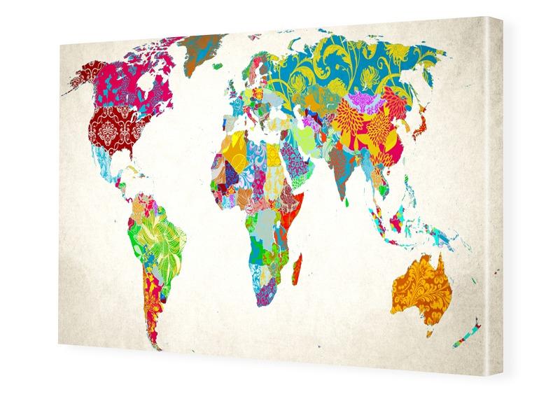 Bild Weltkarte Foto auf Leinwand im Format 80 x...