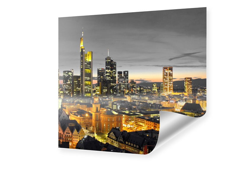 Poster Frankfurt Skyline Foto vergrößern quadra...