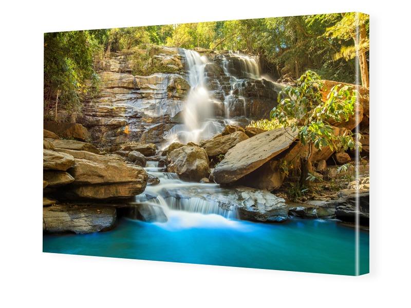 Wasserfallbild Fotoleinwand im Format 90 x 60 cm