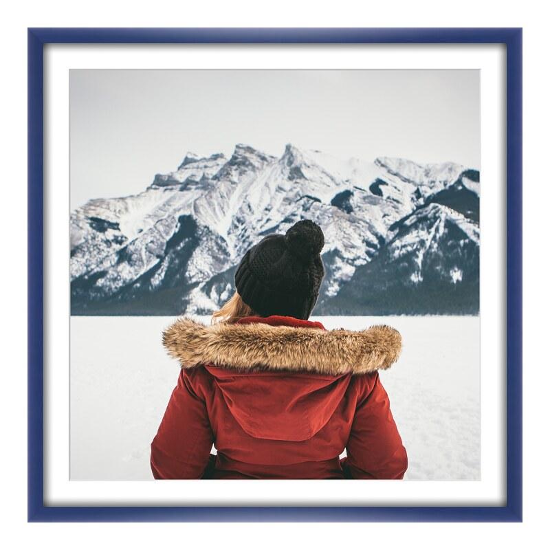 Foto im Holzbilderrahmen in blau im Format 18 x...