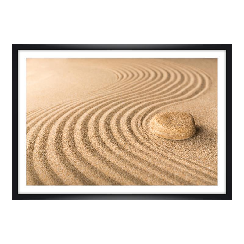 Sand Motiv Foto im Holzbilderrahmen in schwarz ...
