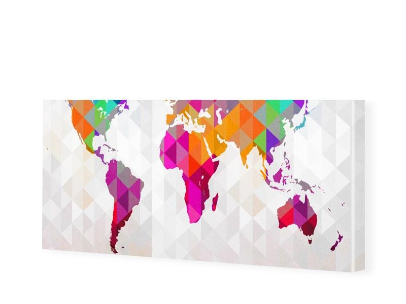 Polygon Weltkarte Leinwand Bild als Panorama im...