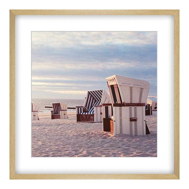 Bild Strandkörbe Posterdruck im Bilderrahmen Ho...