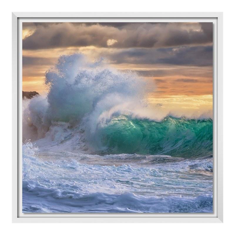Bild Welle Fotoleinwand im Schattenfugen Rahmen Weiß für Fotos auf Leinwand in weiß im Format 90 x 60 cm | Dekoration > Bilder und Rahmen > Poster | myposter