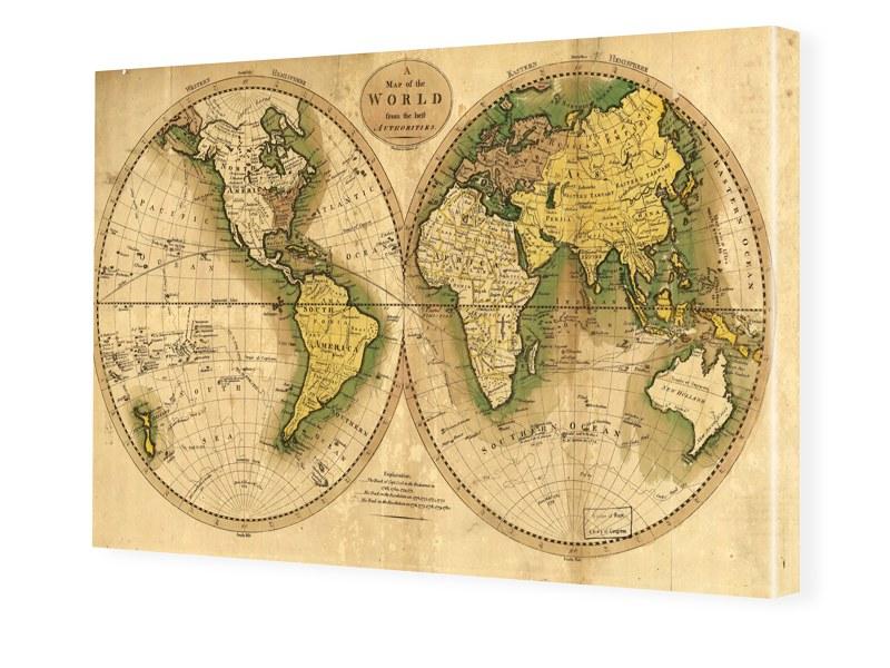 Alte Weltkarte Leinwanddruck im Format 32 x 18 cm