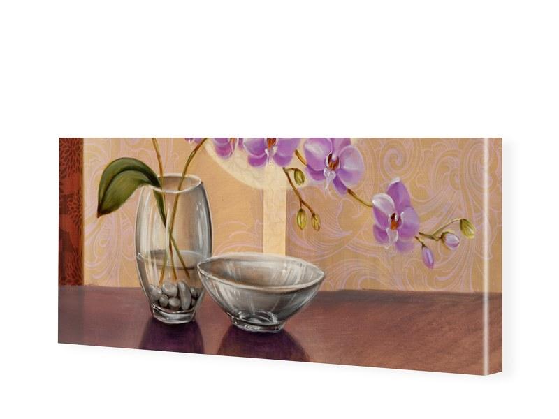Orchideen Gemälde Leinwand Bild als Panorama im...