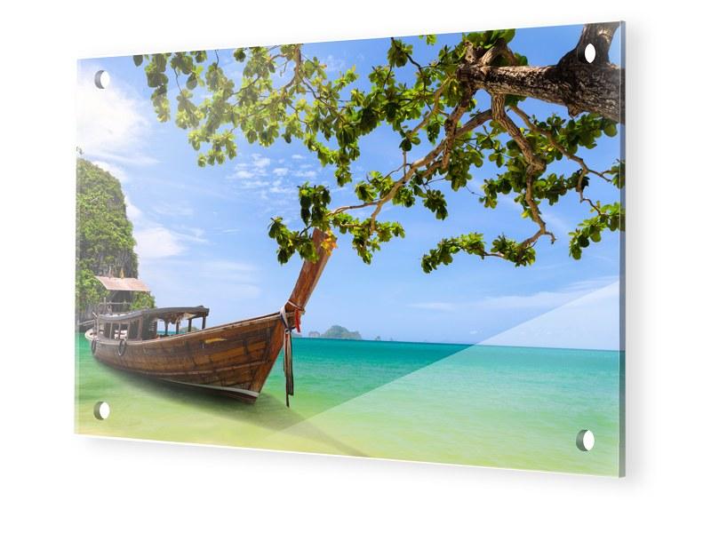 Boote am Strand Glasbilder XXL im Format 120 x ...