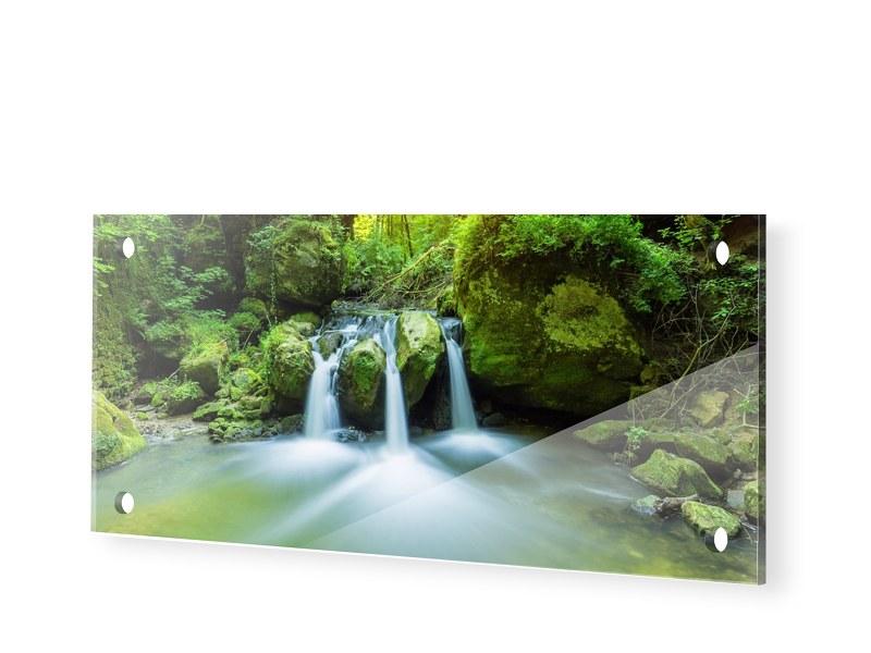 Wasserfall Motiv Acrylglas Druck als Panorama i...