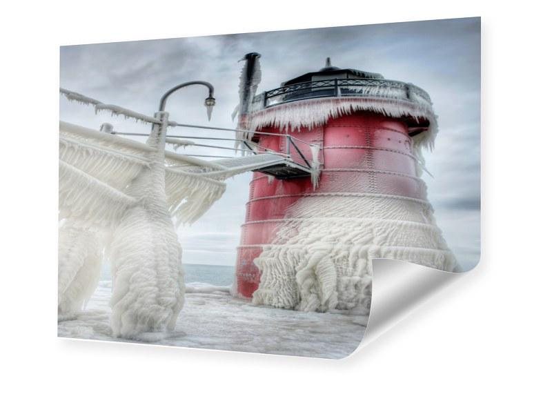 Leuchtturm Eis Fotos Poster im Format 40 x 30 cm