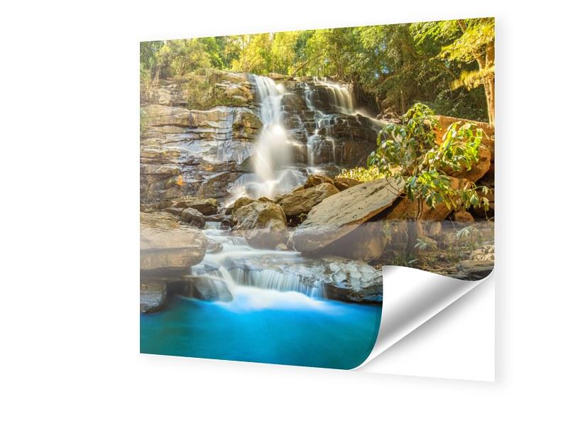 Wasserfallbild Fensterfolie quadratisch im Form...