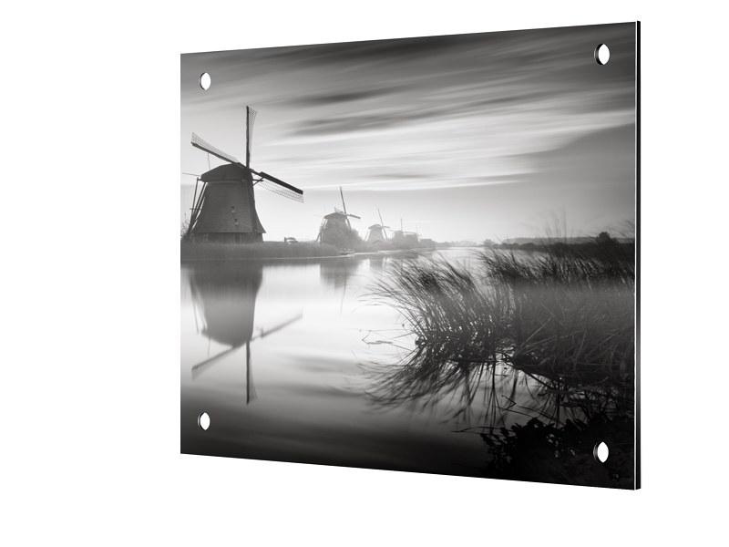Windmuehlen von Kinderdijk Foto auf Platte quadratisch im Format 90 x 90 cm | Garten > Dekoration > Windmühlen | myposter